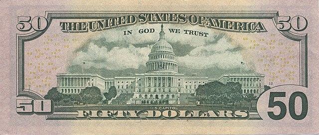 12 verso da nota de 50 dólares 640px - Dólar Hoje - Confira A Cotação.