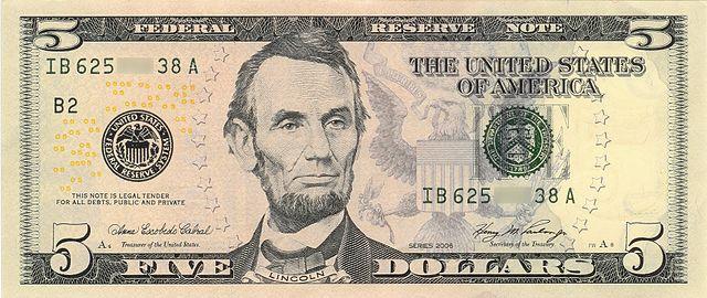 5 frente da nota de 5 dólares 640px - Dólar Hoje - Confira A Cotação.
