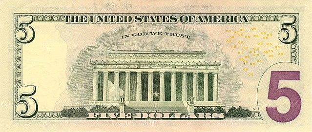 6 verso da nota de 5 dólares 640px - Dólar Hoje - Confira A Cotação.