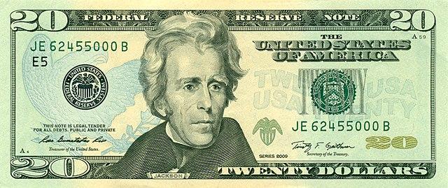 9 frente da nota de 20 dólares 640px - Dólar Hoje - Confira A Cotação.